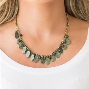 Brass Green patina Necklace & Earring Set NWT